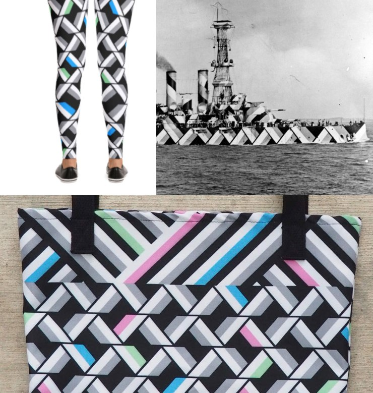 Dazzle camouflage leggings and tote bag